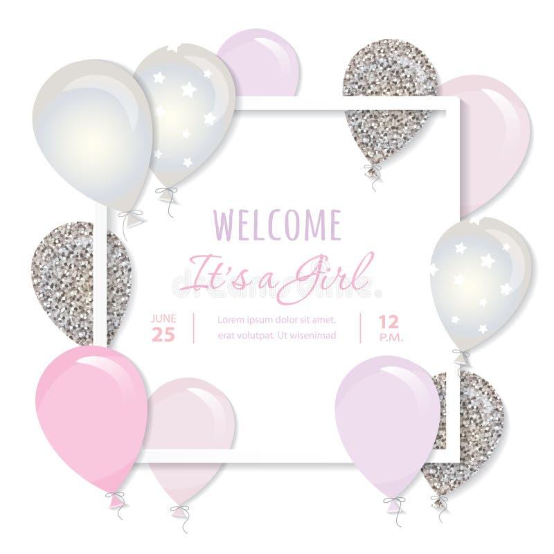 Ballonger i pappers- för snitt fyrkantram ut Födelsedag- och flickababy showerdesign Rosa färger och silver blänker stock illustrationer