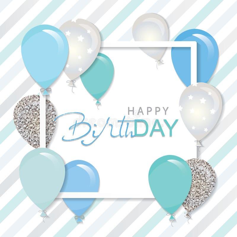 Ballonger i pappers- för snitt fyrkantram ut Födelsedag- och pojkebaby showerdesign Blått och silver blänker royaltyfri illustrationer