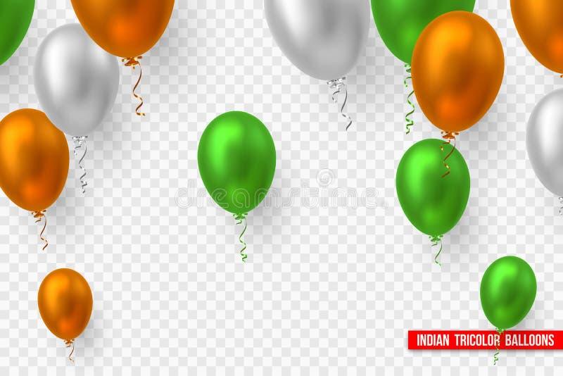 Ballonger i traditionellt Tricolor av den indiska flaggan stock illustrationer