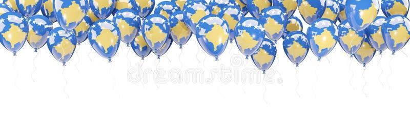 Ballonger inramar med flaggan av Kosovo stock illustrationer
