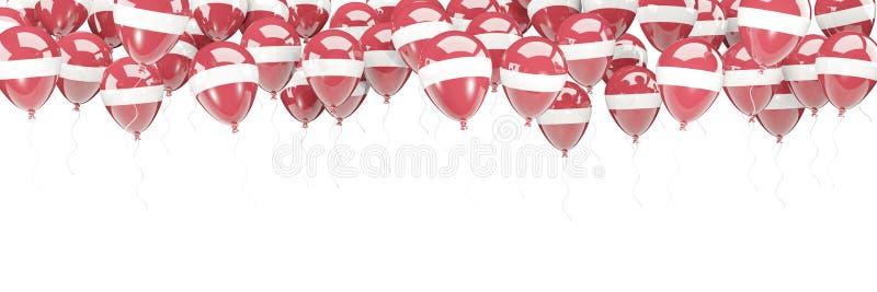 Ballonger inramar med flaggan av Lettland royaltyfri illustrationer