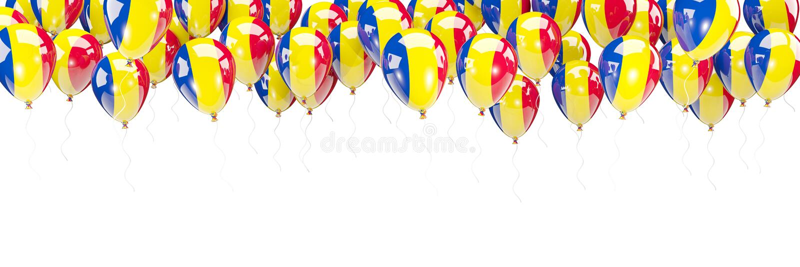 Ballonger inramar med flaggan av Rumänien stock illustrationer