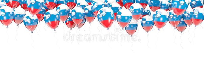 Ballonger inramar med flaggan av Slovenien royaltyfri illustrationer