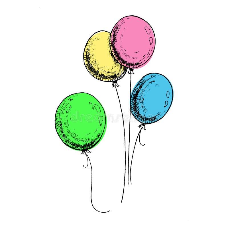 Ballonger med färgad skiss Handdragna, ljusa ballonger, isolerade på vit bakgrund Bild på vektor för multicolor stock illustrationer