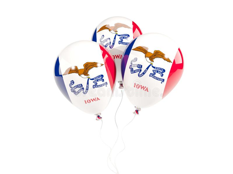 Ballonger med flaggan av iowa Förenta staterna lokalflaggor vektor illustrationer