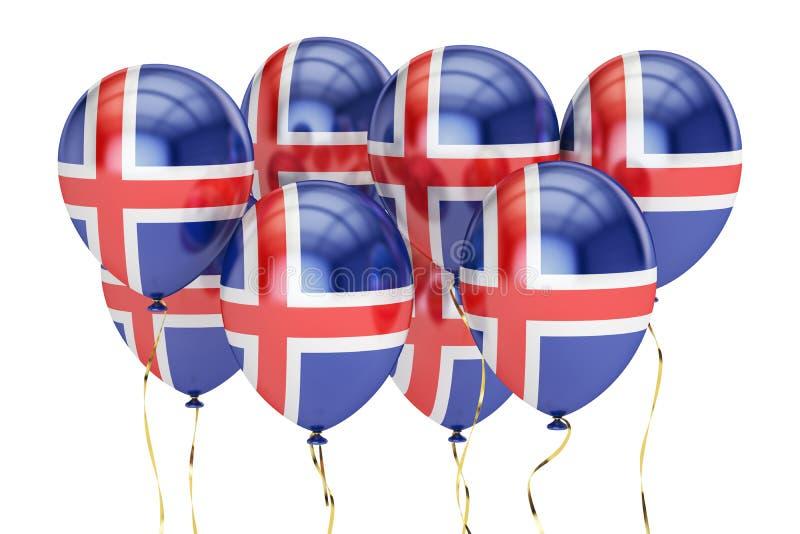 Ballonger med flaggan av Island, holyday begrepp framförande 3d vektor illustrationer