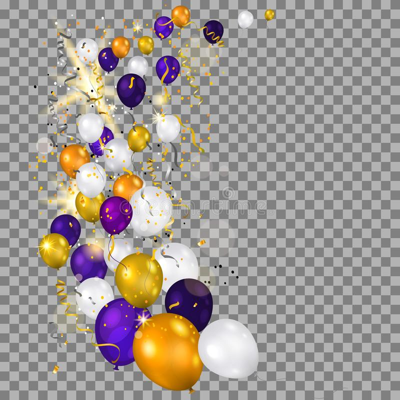 Ballonger på genomskinlig bakgrund stock illustrationer