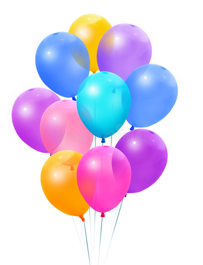 ballonger samlar ihop kulört royaltyfri bild