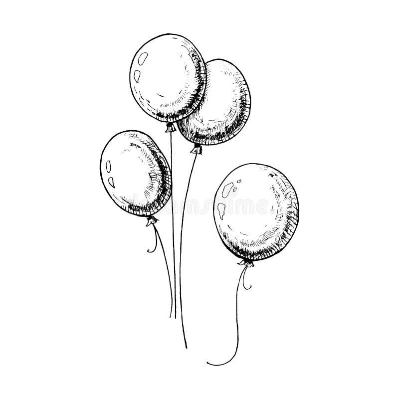Ballonger skissar Hand-drog ballonger som isoleras på vit bakgrund Svart illustration vektor illustrationer