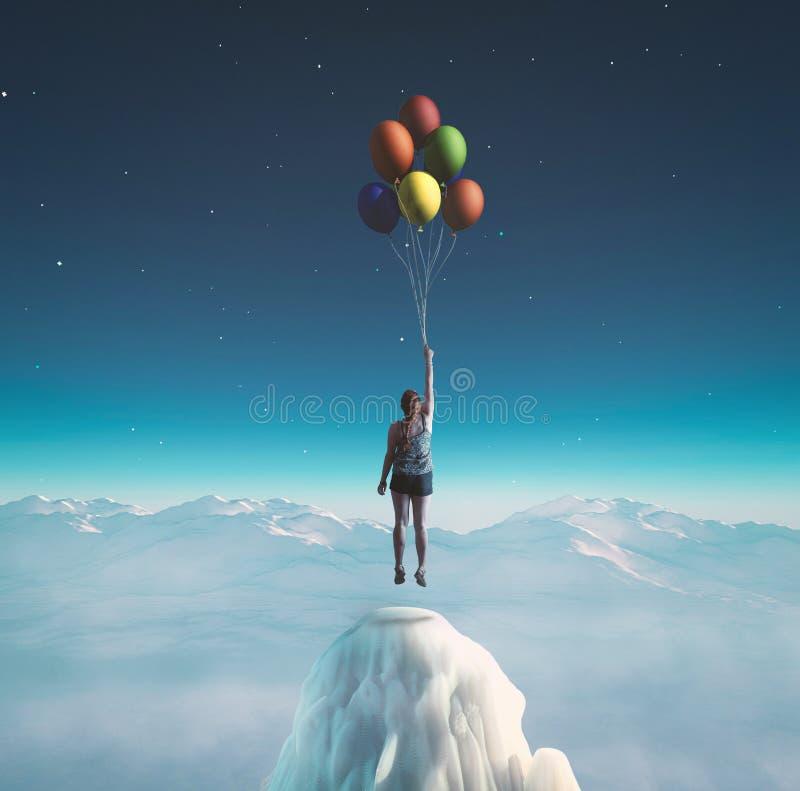 Ballonger som flyger på natten royaltyfria bilder