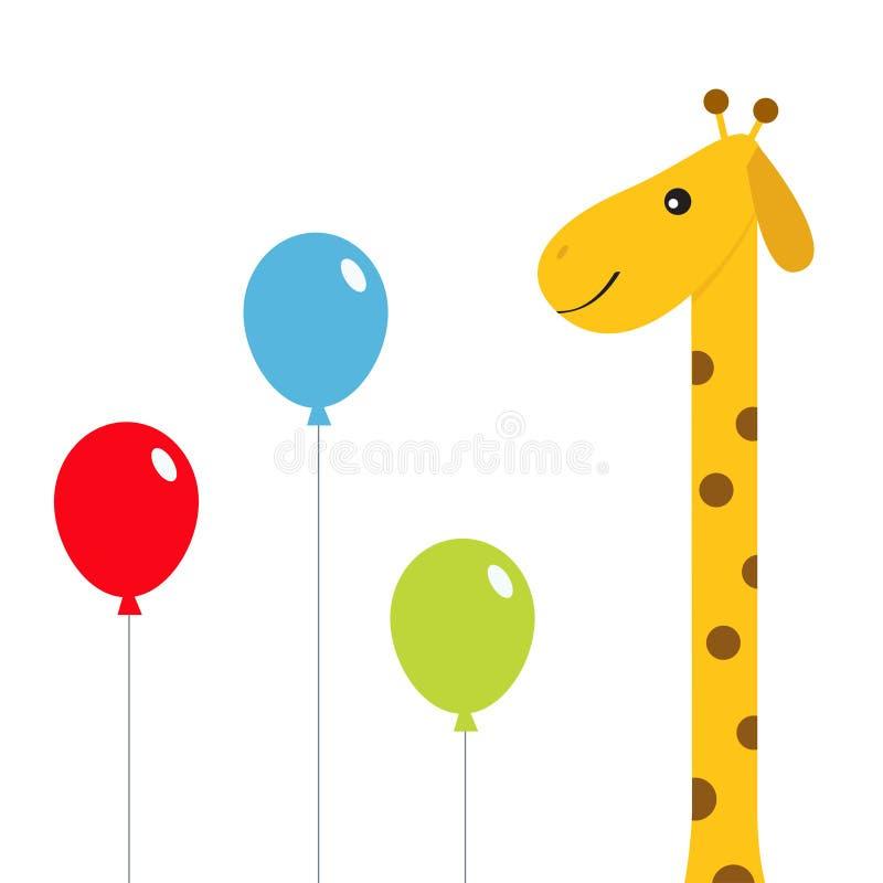 ballonger tre Giraff med fläcken Zoodjur Gulligt tecknad filmtecken lång hals Samling för djur för lös savanndjungel afrikansk royaltyfri illustrationer
