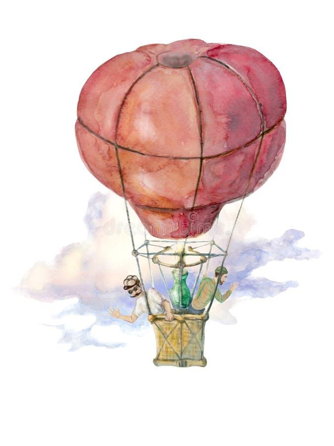 Ballongflyget illustreras med vattenfärgen stock illustrationer