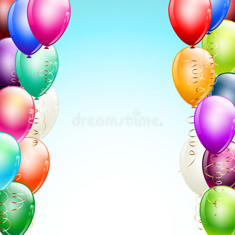Ballonggränser över ljus - blå bakgrund royaltyfri illustrationer