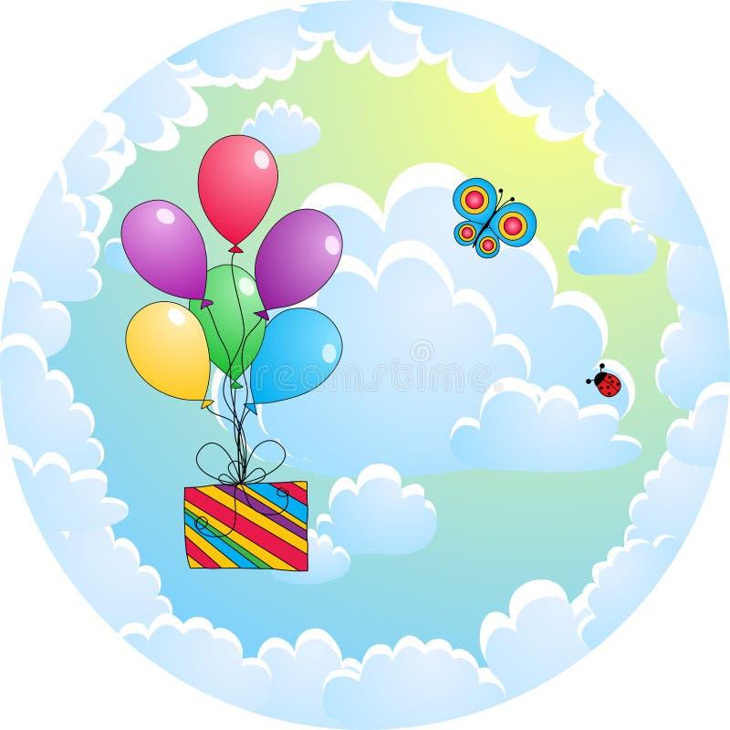 ballongkorthälsning royaltyfri illustrationer