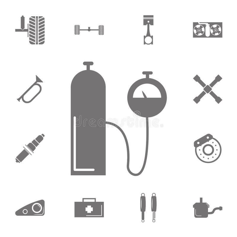 Ballongtrycksymbol Uppsättning av bilreparationssymboler Tecken av samlingen, enkla symboler för websites, rengöringsdukdesign, m royaltyfri illustrationer