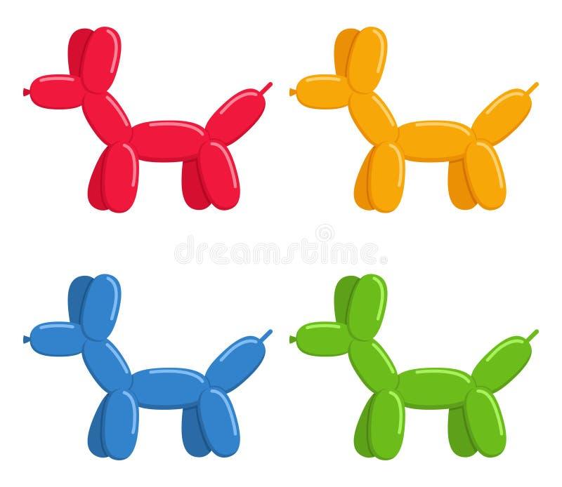 Ballonhundkapplöpninguppsättning som isoleras på vit bakgrund Gulliga leksaker för bubbladjurhundkapplöpning i plan stil stock illustrationer