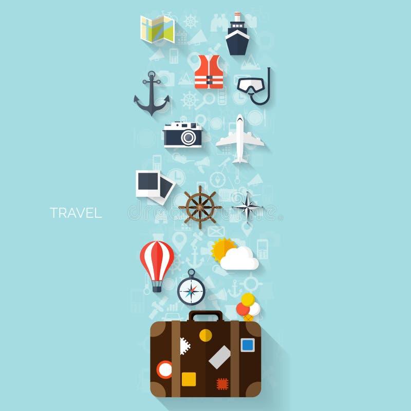 Ballonikone Weltreise-Konzepthintergrund Flache Ikonen tourismus Feiertagsferien Seeozeanland-Luftreisen vektor abbildung