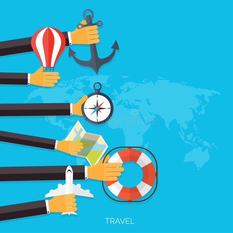 Ballonikone Weltreise-Konzepthintergrund Flache Ikonen tourismus Feiertagsferien Seeozeanland-Luftreisen stock abbildung