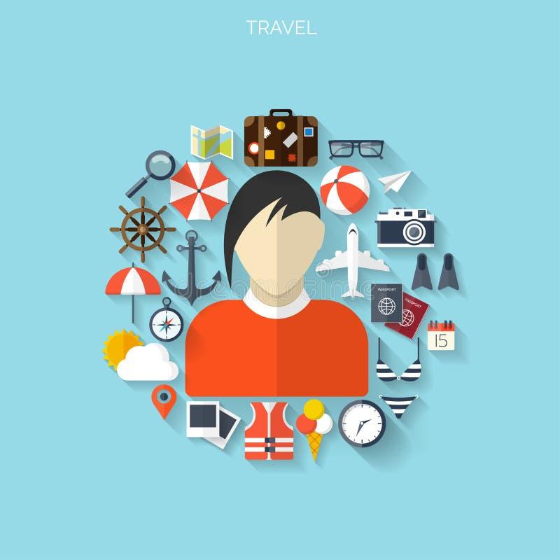 Ballonikone Weltreise-Konzepthintergrund Flache Ikonen tourismus Feiertagsferien Seeozeanland-Luftreisen lizenzfreie abbildung