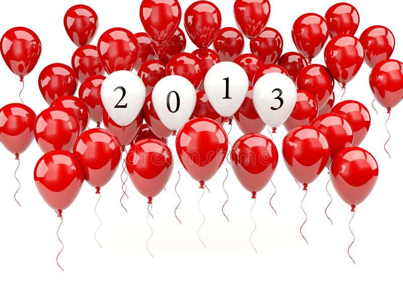 Ballons à air avec le signe de l'an 2013 neuf illustration libre de droits