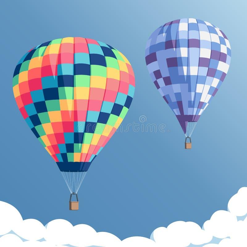 Ballons à air chauds colorés illustration de vecteur