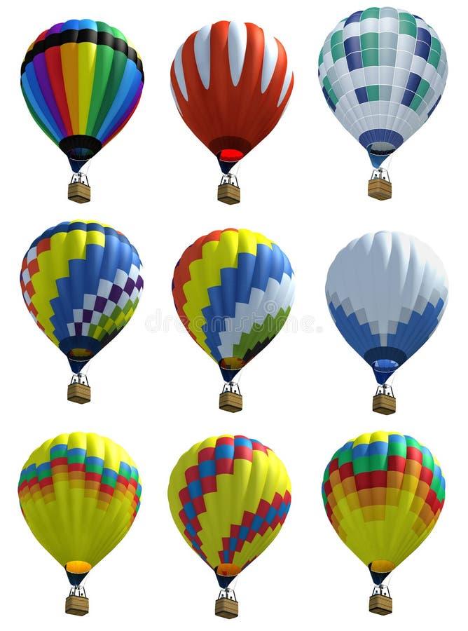 Ballons à air chauds d'isolement illustration stock