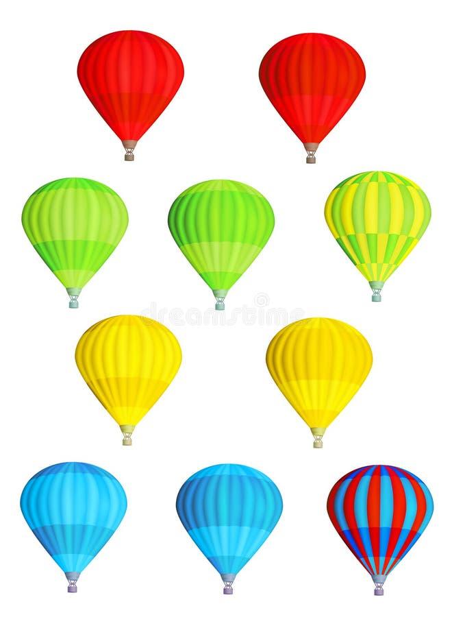 Ballons à air chauds d'isolement colorés illustration libre de droits