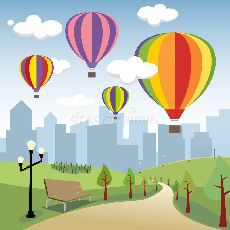Ballons à air chauds dans la ville illustration libre de droits