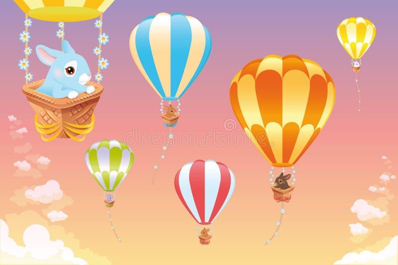 Ballons à air chauds dans le ciel avec le lapin. illustration libre de droits