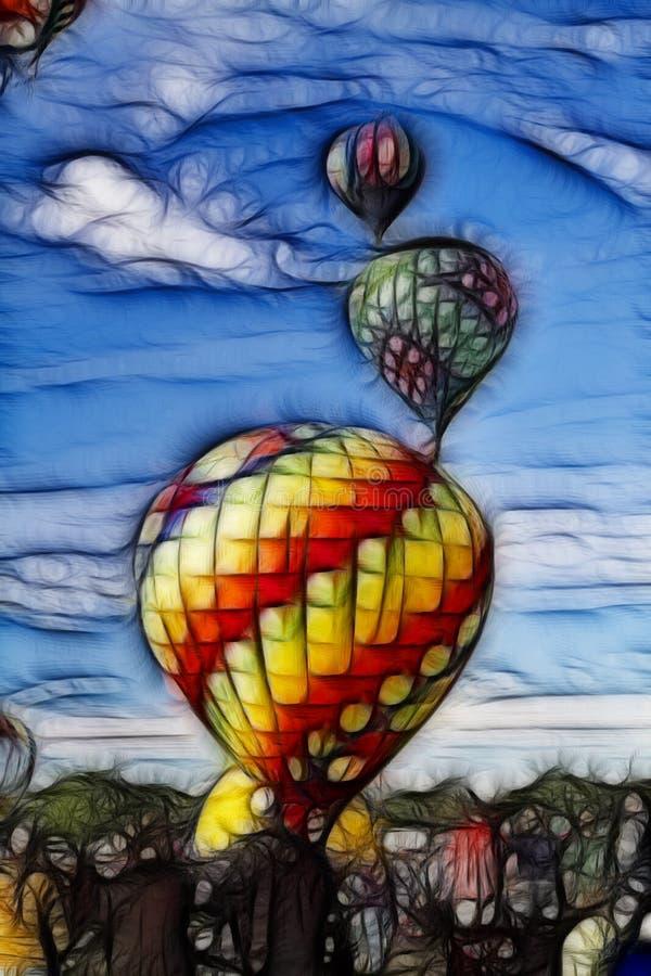 Ballons à air chauds se levant dans le ciel Digital peinte illustration de vecteur