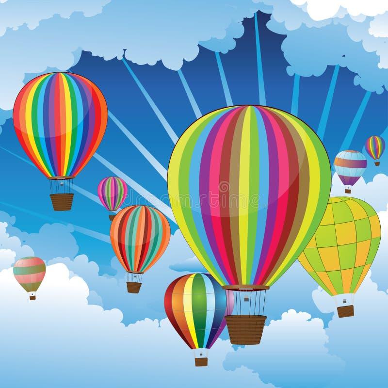 Ballons à air dans le ciel illustration de vecteur