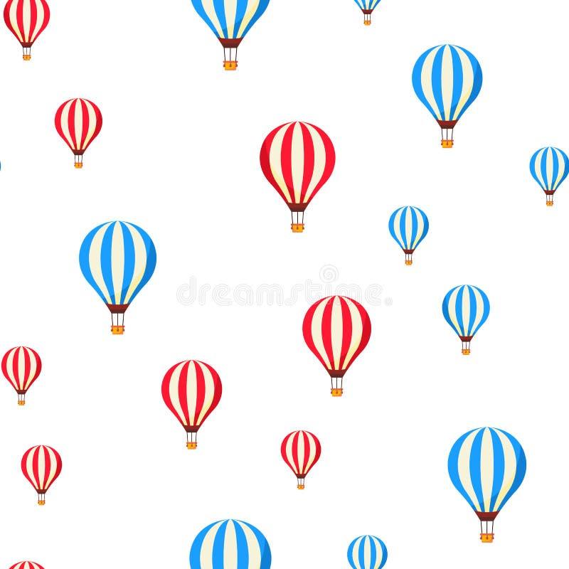 Ballons à air pilotant le modèle sans couture de vecteur de bande dessinée illustration stock