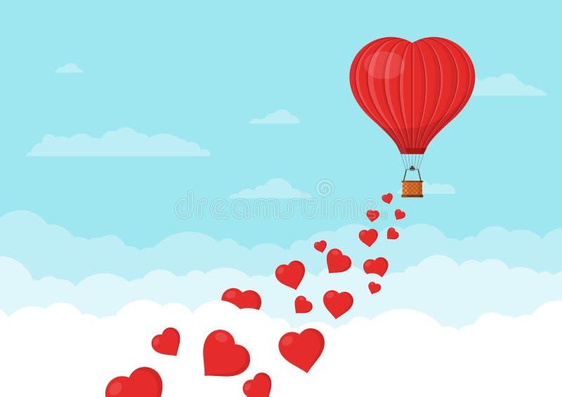 Ballons à air rouges de coeur volant dans le ciel bleu avec des nuages Carte de voeux de jour du ` s de Valentine de saint Forme  illustration stock