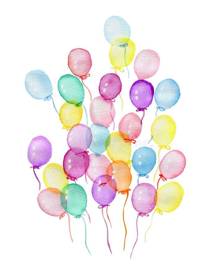 Ballons à air varicolored d'aquarelle sur un fond blanc illustration stock