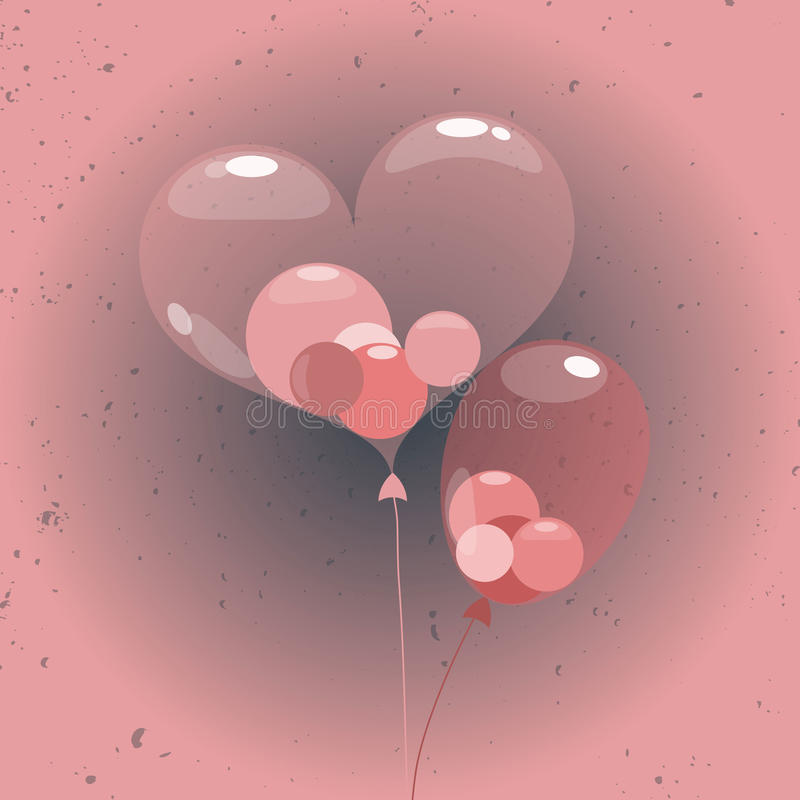 Ballons σφαιρών μέσα στο μπαλόνι καρδιών απεικόνιση αποθεμάτων