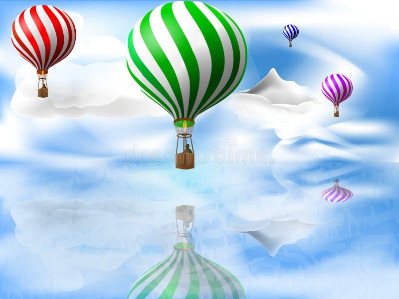 Ballons au-dessus de la mer illustration libre de droits