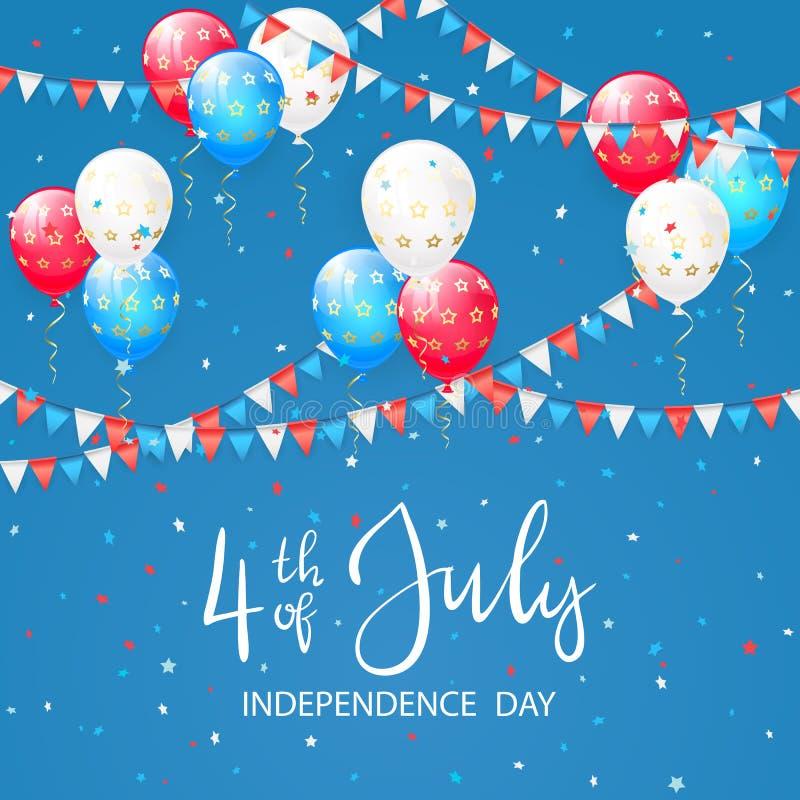 Ballons avec des étoiles sur le fond bleu de Jour de la Déclaration d'Indépendance illustration de vecteur