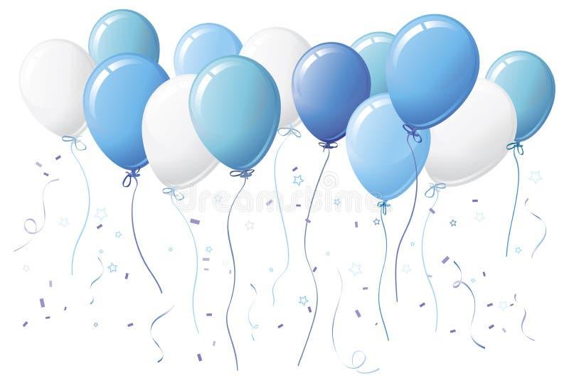 Ballons bleus avec des confettis illustration de vecteur