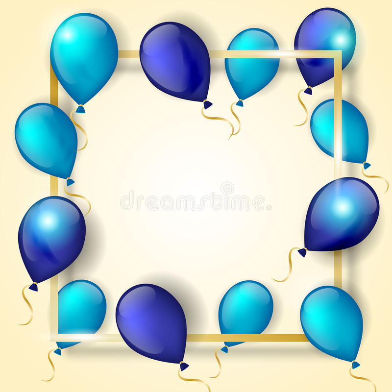 Ballons bleus avec le cadre d'or illustration de vecteur