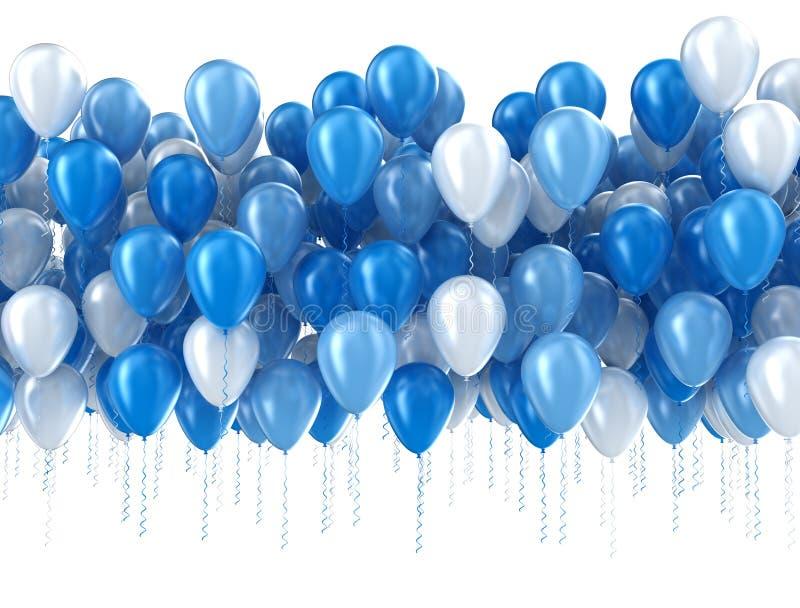 Ballons bleus d'isolement illustration de vecteur