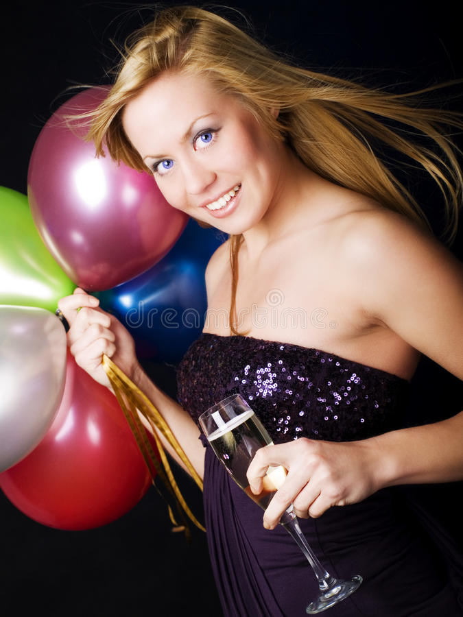 ballons blond champagn szampańska mienia kobieta obrazy royalty free