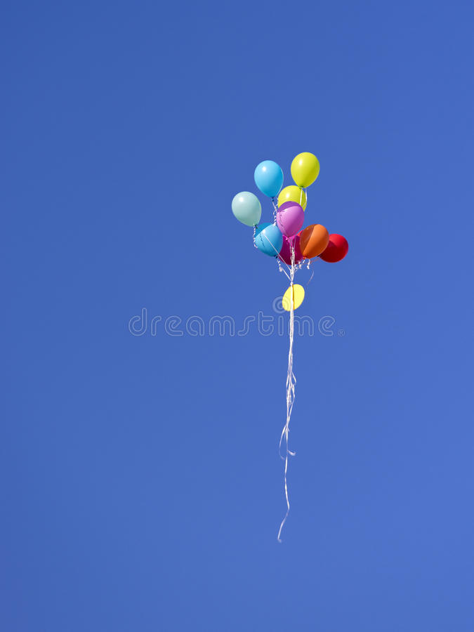 Ballons on blue sky. Ballons on sky blue background stock photos