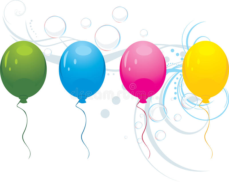 Ballons colorés avec des bulles illustration stock
