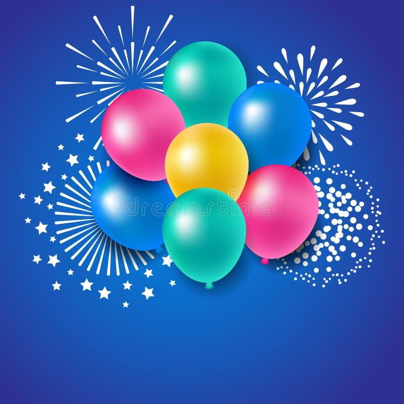Ballons colorés avec des feux d'artifice pour la célébration illustration stock