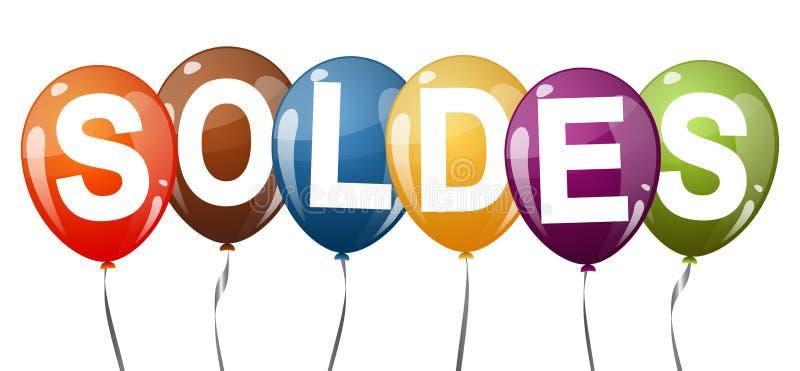 ballons colorés avec le texte SOLDES illustration libre de droits