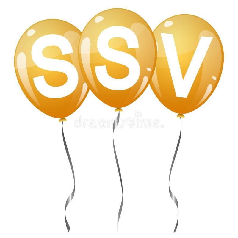 ballons colorés avec le texte SSV illustration de vecteur