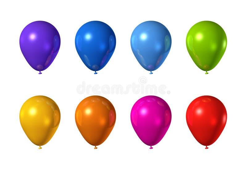 Ballons colorés d'isolement sur le blanc illustration stock