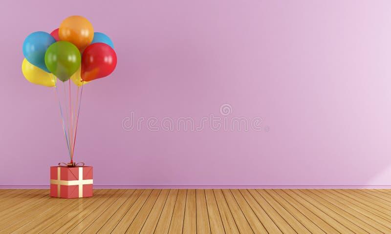Ballons colorés dans une salle rose vide illustration de vecteur