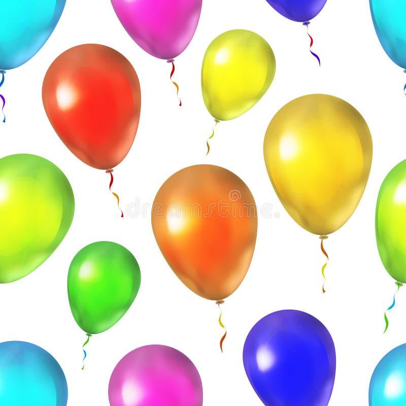 Ballons colorés lumineux sur le modèle blanc et sans couture illustration libre de droits