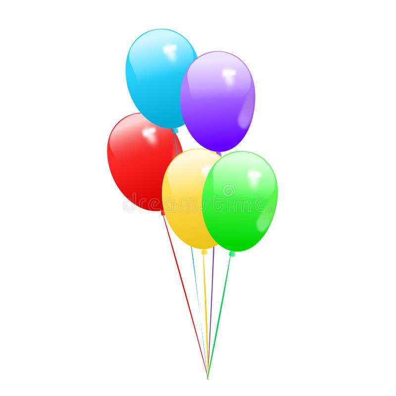 Ballons colorés pour la salutation de joyeux anniversaire carte photos libres de droits